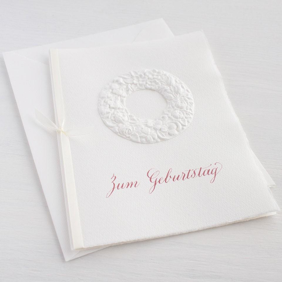 """Karte """"Zum Geburtstag"""" mit Blumenkranz"""