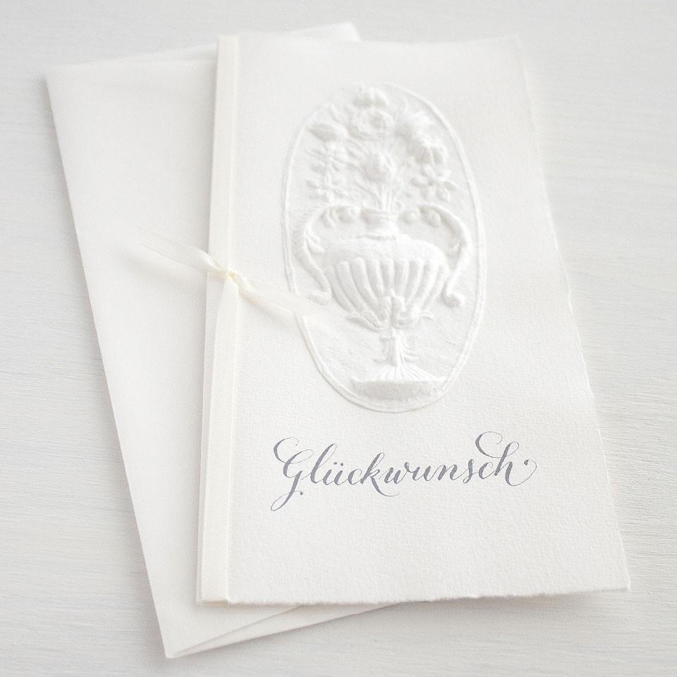 """Karte """"Glückwunsch"""" mit Blumenvase"""
