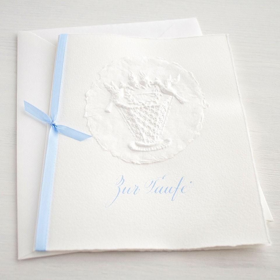 """Karte """"Zur Taufe"""" mit Kinderwiege blau"""