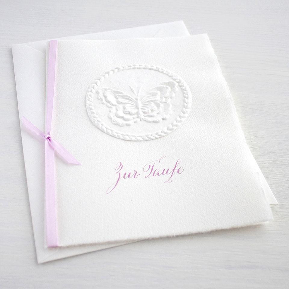 """Karte """"Zur Taufe"""" mit Schmetterling rosa"""