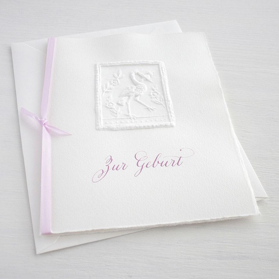"""Karte """"Zur Geburt"""" mit Storch rosa"""
