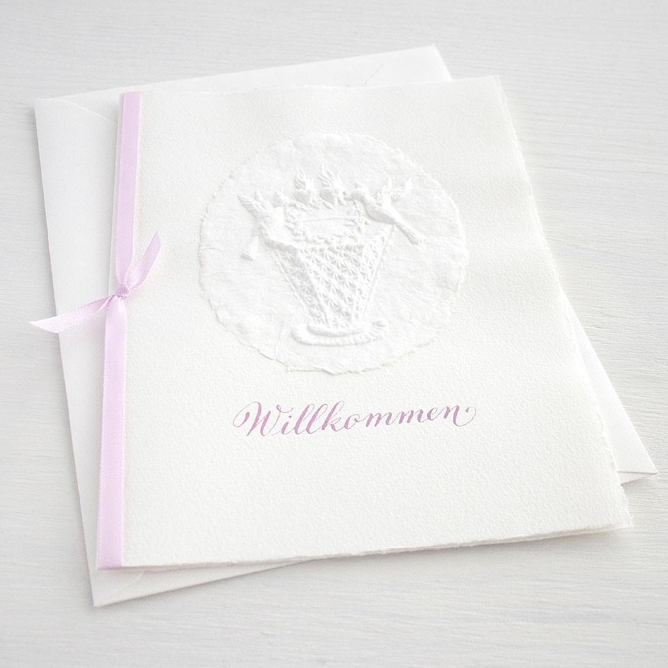 """Karte """"Willkommen"""" mit Kinderwiege rosa"""