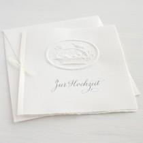"""Karte """"Zur Hochzeit"""" mit Blumenkorb und Vögeln"""