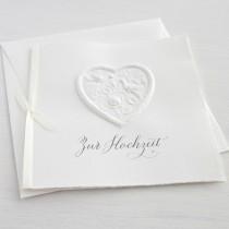 """Karte """"Zur Hochzeit"""" mit Herz und Vögeln"""
