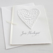 """Karte """"Zur Hochzeit"""" mit Herz und Vogelnest"""