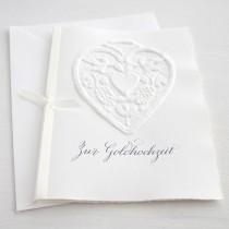 """Karte """"Zur Goldhochzeit"""" mit Herz-Ornament"""