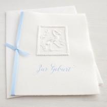 """Karte """"Zur Geburt"""" mit Storch blau"""