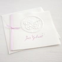 """Karte """"Zur Geburt""""quadratisch mit Schmetterling rosa"""