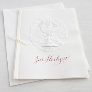 """Karte """"Zur Hochzeit"""" mit Blumen im Pokal"""