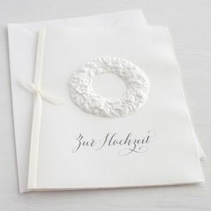 """Karte """"Zur Hochzeit"""" mit Blumenkranz"""