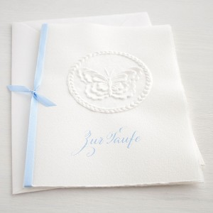 """Karte """"Zur Taufe"""" mit Schmetterling blau"""