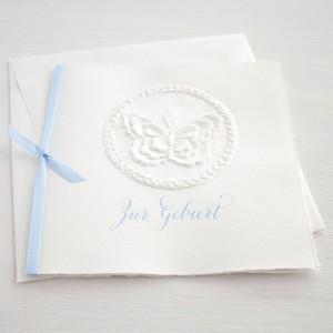 """Karte """"Zur Geburt"""" quadratisch mit Schmetterling blau"""
